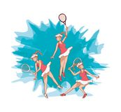 Group of women players tennis. Vector illustration design Royalty Free Stock Photo