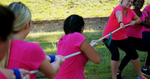 Group of women playing tug of war during obstacle course stock video footage