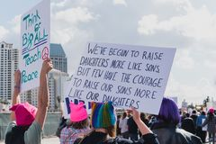 Group of women protesting in the 2018 Impeachment March royalty free stock photo