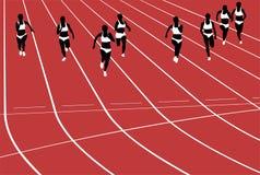 Group women runners running sprints in stadium Stock Image