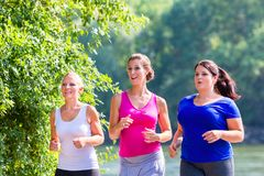 Group of women running at lakeside jogging. In park stock photography