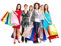 Group of women with shopping bags. royalty free stock photography