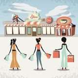 Group of women in shopping day style retro Royalty Free Stock Images