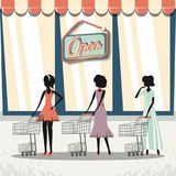 Group of women in shopping day style retro Stock Image
