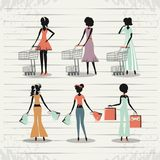Group of women in shopping day style retro Royalty Free Stock Image