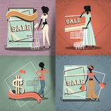 Group of women in shopping day style retro Royalty Free Stock Photography