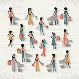 Group of women in shopping day style retro Stock Photo