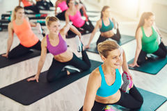 Group of women stretching together Royalty Free Stock Photos