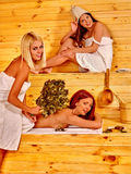 Group women  talking in sauna Stock Image