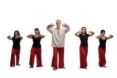 People doing yoga shot isolated. Group of women and their male trainer doing yoga exercises isolated Stock Photos