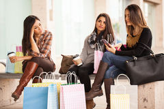 Group of women tired of shopping in a mall Stock Photography