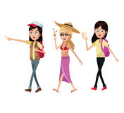 group women tourist traveles vector illustration