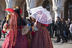 Group of women at the venetian carnival Royalty Free Stock Image