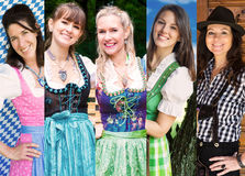 Group of women wearing bavarian dirndl Royalty Free Stock Photography