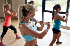Group of women working out martial arts in gym Stock Photos