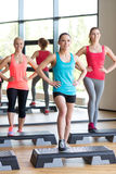 Group of women working out with steppers in gym Royalty Free Stock Photos