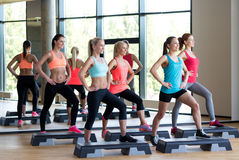 Group of women working out with steppers in gym Stock Photography