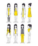 Group of women with yellow clothes. Vector illustration design Stock Photography