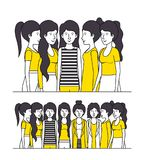 Group of women with yellow clothes. Vector illustration design Royalty Free Stock Images