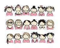Group of women for your design. Vector illustration Royalty Free Stock Images