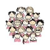 Group of women for your design. Vector illustration Stock Photo