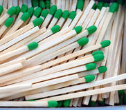 Group Wood Stalk Green Tip Match In Box Matchsticks Royalty Free Stock Image