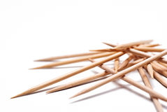 Group of wood toothpicks. On a white background Royalty Free Stock Photo