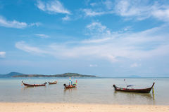 Group of wooden boats at the tropical beach, Thailand Royalty Free Stock Image