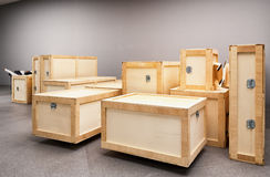 Group of wooden boxes Stock Photo