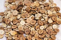 Group of wooden buttons Stock Photo