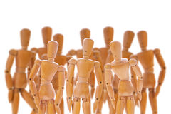 Group of wooden dummies stock photo