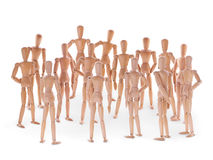 Group of wooden dummyes Stock Photo