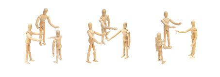 Group of wooden figure mannequin talking and discussion together. royalty free stock image