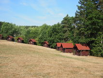 Group of wooden huts. In the camp royalty free stock images