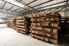 The group of wooden pallet in the factory. Stock Image