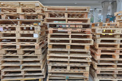 Group of wooden pallet isolated at street Stock Photos