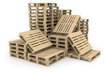 Group wooden pallets Stock Images