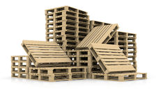 Group wooden pallets Stock Image