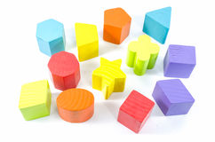 Group of wooden toy blocks isolated Stock Photography