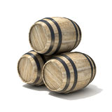 Group of wooden wine barrels. 3D render illustration isolated over white background Royalty Free Stock Photography