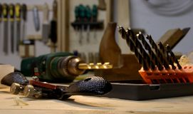 A group of woodworking tools with the spoke shave in focus. royalty free stock photography