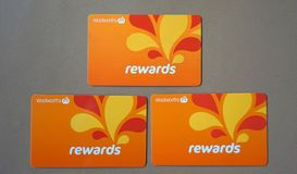Group of Woolworths Rewards loyalty cards. Stock Photography