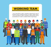 Group of worker, builder and engineer standing together on blue background in flat style. Working team and teamwork concept. Stock Photo
