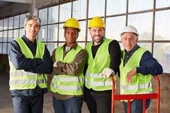 Group of workers as international logistics team royalty free stock image