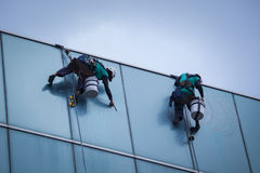 Group of workers cleaning windows service on high rise building. For any use Stock Photography
