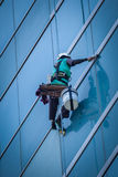 Group of workers cleaning windows service on high rise building Royalty Free Stock Photos