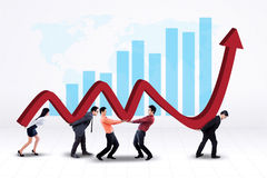 Group of workers with financial graph Royalty Free Stock Photography