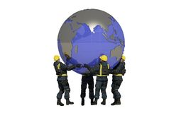A group of workers and the globe. Royalty Free Stock Photo
