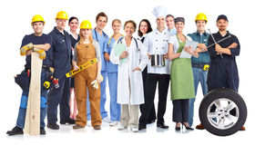 Group of workers people. Group of workers people isolated white background. Teamwork Royalty Free Stock Images