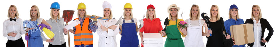 Group of workers professions women business occupation career is. Group of workers professions woman business occupation career isolated on a white background Royalty Free Stock Images